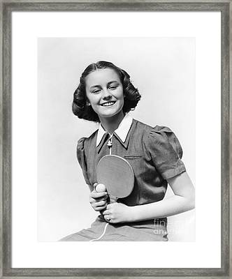 Girl With Table Tennis Paddle And Ball Framed Print