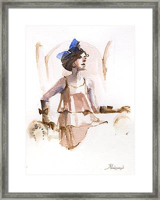 Girl With The Blue Ribbon Framed Print by Kristina Vardazaryan
