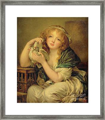 Girl With The Doves Framed Print