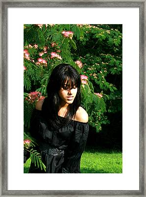 Girl With The Flower Tree Framed Print by Maria Isabel Garcia