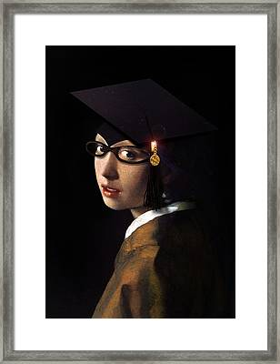 Girl With The Grad Cap Framed Print by Gravityx9  Designs