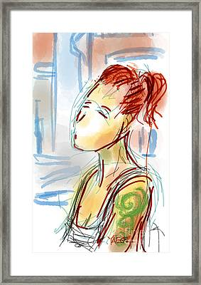 Girl With The Green Tattoo Framed Print