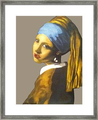 Framed Print featuring the painting Girl With The Pearl Earring No Background by Jayvon Thomas