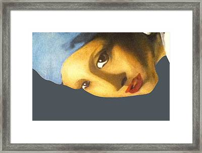 Framed Print featuring the painting Girl With The Pearl Earring Side by Jayvon Thomas