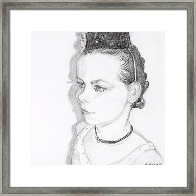 Girl With The Pill Box Hat Framed Print by Debbie Beukema