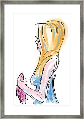 Girl With The Pink Purse Framed Print by Robert Yaeger
