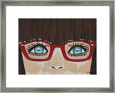 Framed Print featuring the painting Girl With The Red Glasses by Kathleen Sartoris