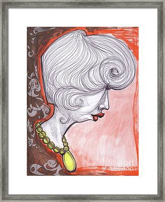 Girl With The Yellow Pearl Necklace Framed Print
