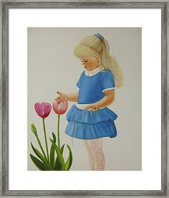 Girl With Tulips Framed Print by Joni McPherson