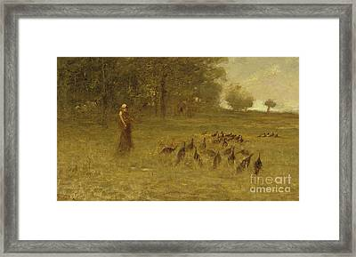 Girl With Turkeys Framed Print