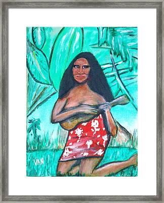 Girl With Ukulele Framed Print