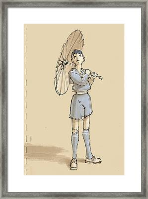Girl With Umbrella Framed Print by H James Hoff