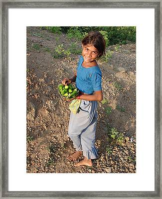 Girl With Vegetables.... Framed Print by Sandeep Khanwalkar