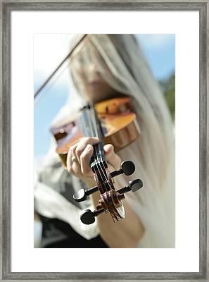 Girl With Violin  Framed Print by Pamela Patch