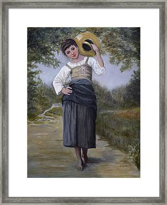 Girl With Water Jug Framed Print
