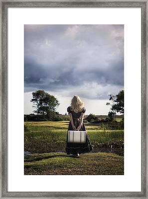 Girl With White Suitcase Framed Print by Joana Kruse