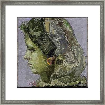 Girl With Yellow Earring Gwye2 Framed Print