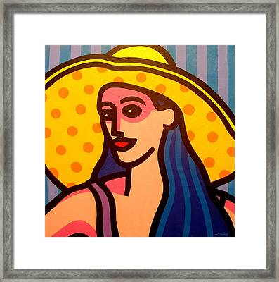 Girl With Yellow Hat Framed Print by John  Nolan