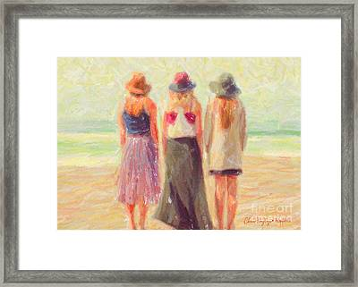Girlfriends At The Beach Framed Print