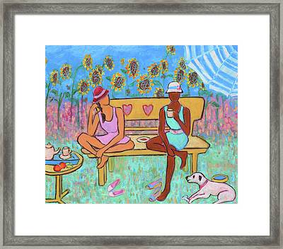 Framed Print featuring the painting Girlfriends' Teatime IIi by Xueling Zou