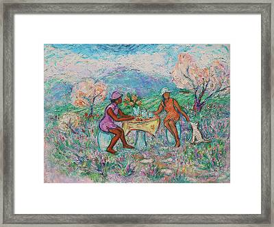 Framed Print featuring the painting Girlfriends' Teatime Iv by Xueling Zou