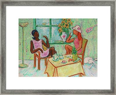 Framed Print featuring the painting Girlfriends' Teatime V by Xueling Zou