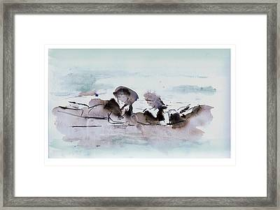Girls At The Beach Framed Print by Lori Childers