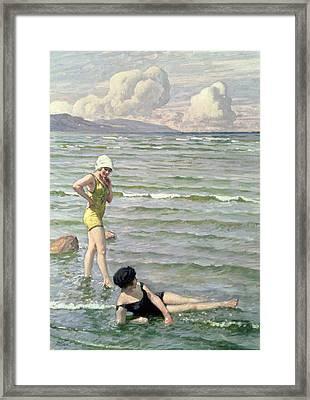 Girls Bathing Framed Print by Paul Fischer