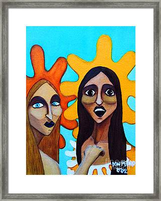 Framed Print featuring the painting Girls Caught In Fraganti by Don Pedro De Gracia