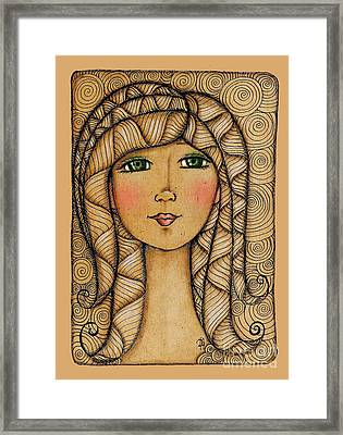 Girl's Face Framed Print by Delein Padilla