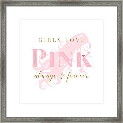 Girls Love Pink Woman Silhouette Framed Print by Tracie Kaska