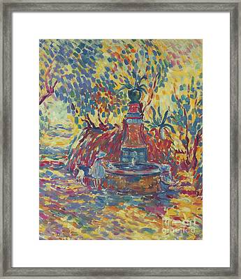 Girls Near The Fountain Framed Print by MotionAge Designs