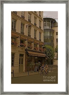 Girls On Bicycles Framed Print by Louise Fahy