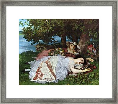 Girls On The Banks Of The Seine Framed Print by Gustave Courbet