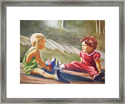 Girls Playing Ball  Framed Print by Marilyn Jacobson