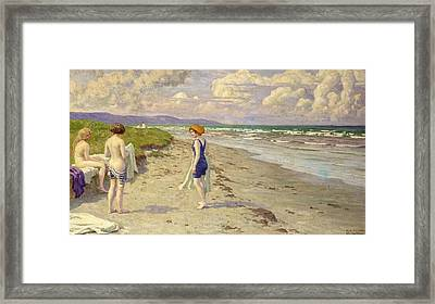 Girls Preparing To Bathe On The Beach Framed Print by Paul Fischer
