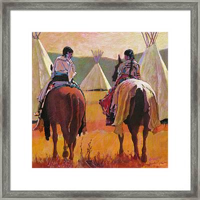 Girls Riding Framed Print by Robert Bissett