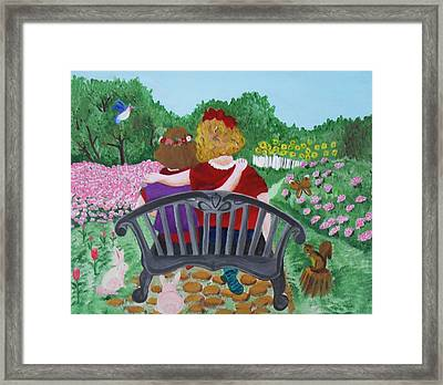 Girls Sitting Framed Print