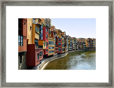 Girona Riverfront Framed Print by Mathew Lodge