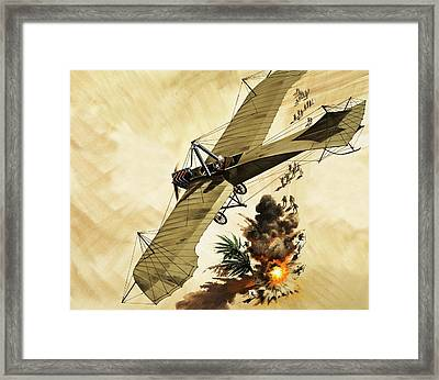 Giulio Gavotti Drops The First Bomb From A Plane Framed Print by Wilf Hardy