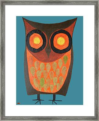 Give A Hoot Orange Owl Framed Print
