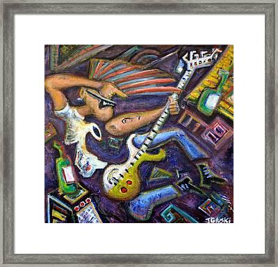 Give Em The Boot - Punk Rock Cubism Framed Print by Jason Gluskin