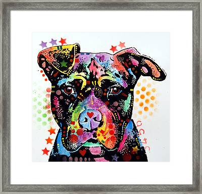 Give Love Pitbull Framed Print by Dean Russo