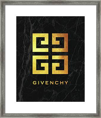 Givenchy - Black And Gold Framed Print