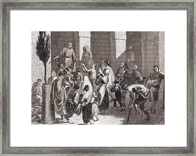 Giving Out Soup To The Poor From The Framed Print