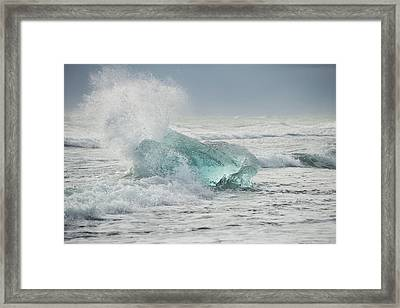 Glacial Iceberg In Beach Surf. Framed Print