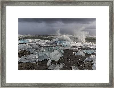 Framed Print featuring the tapestry - textile Glacial Lagoon Iceland 2 by Kathy Adams Clark
