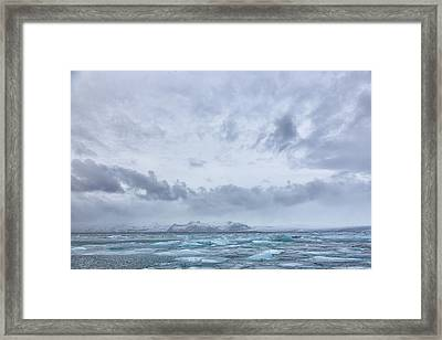 Framed Print featuring the tapestry - textile Glacial Lagoon Iceland by Kathy Adams Clark