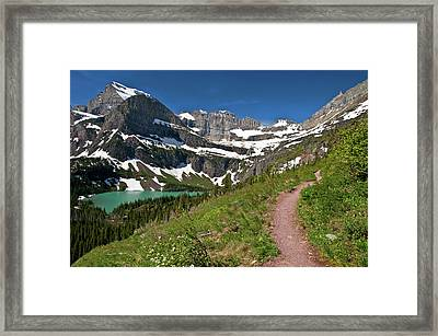 Framed Print featuring the photograph Glacier Backcountry Trail by Gary Lengyel