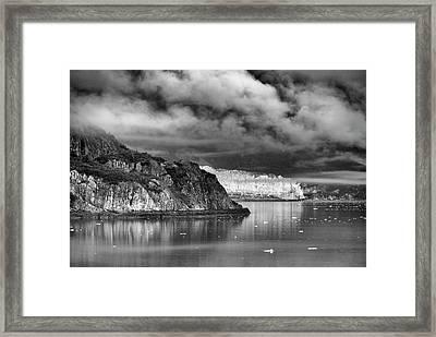 Glacier Bay Alaska In Bw Framed Print